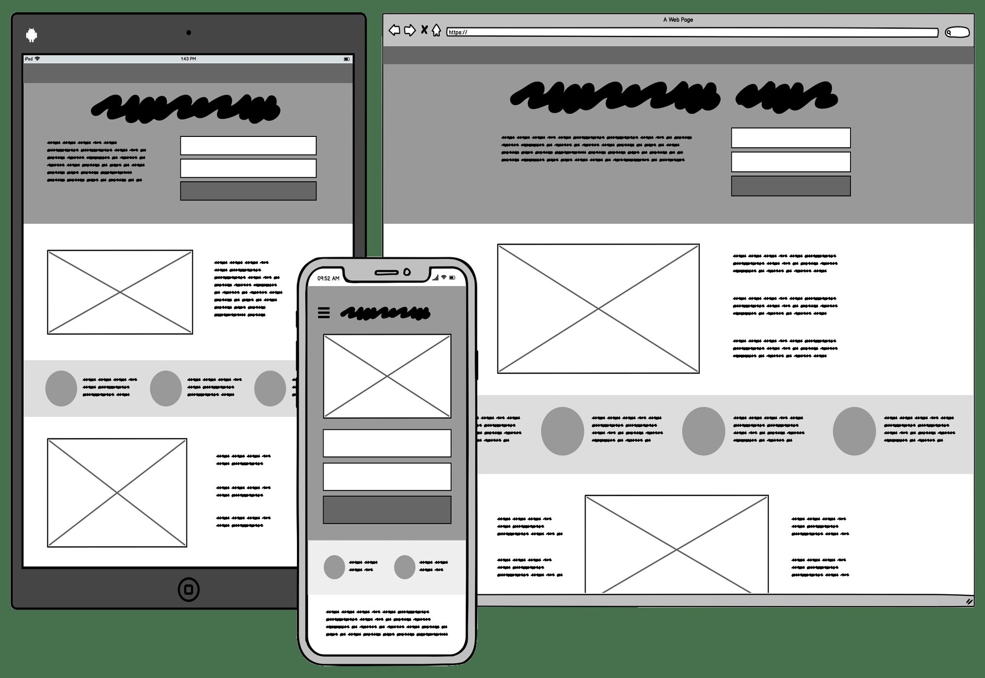 Balsamiq mobile UI design.