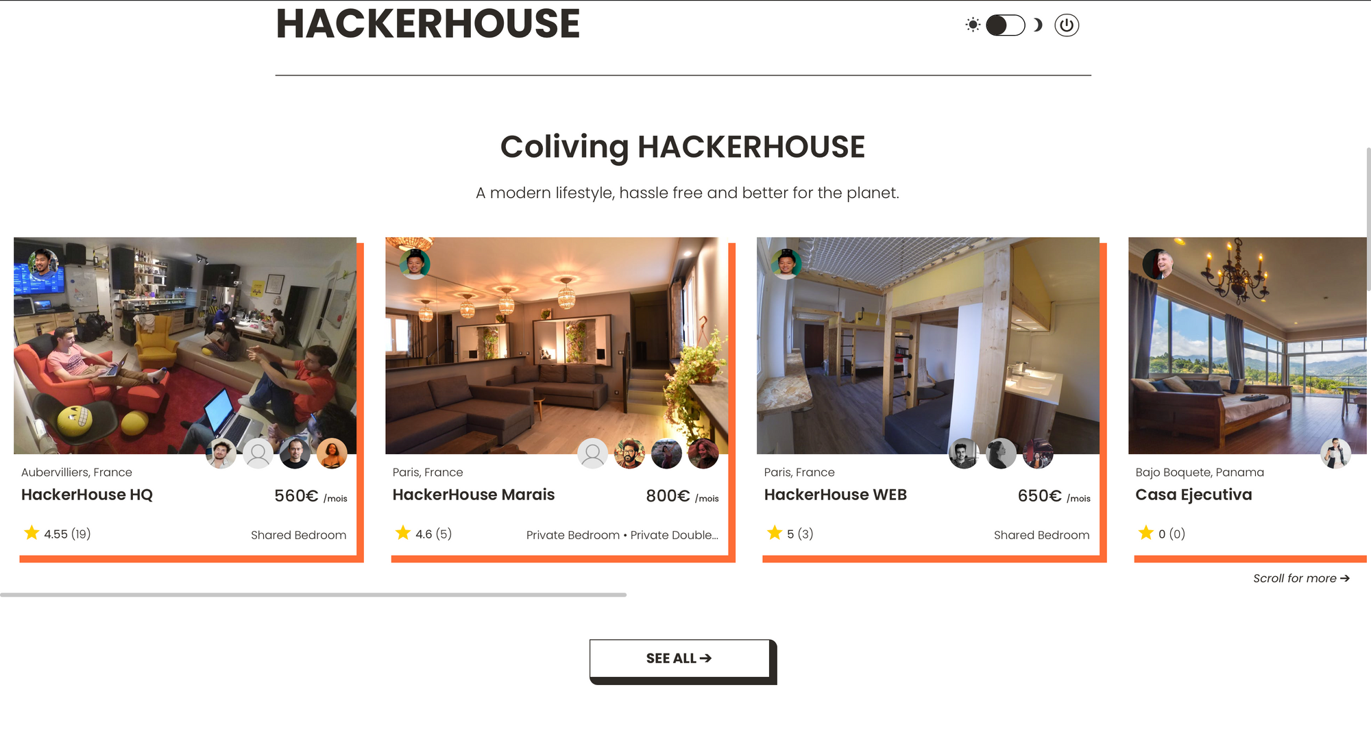 View different room listings on HackerHouse