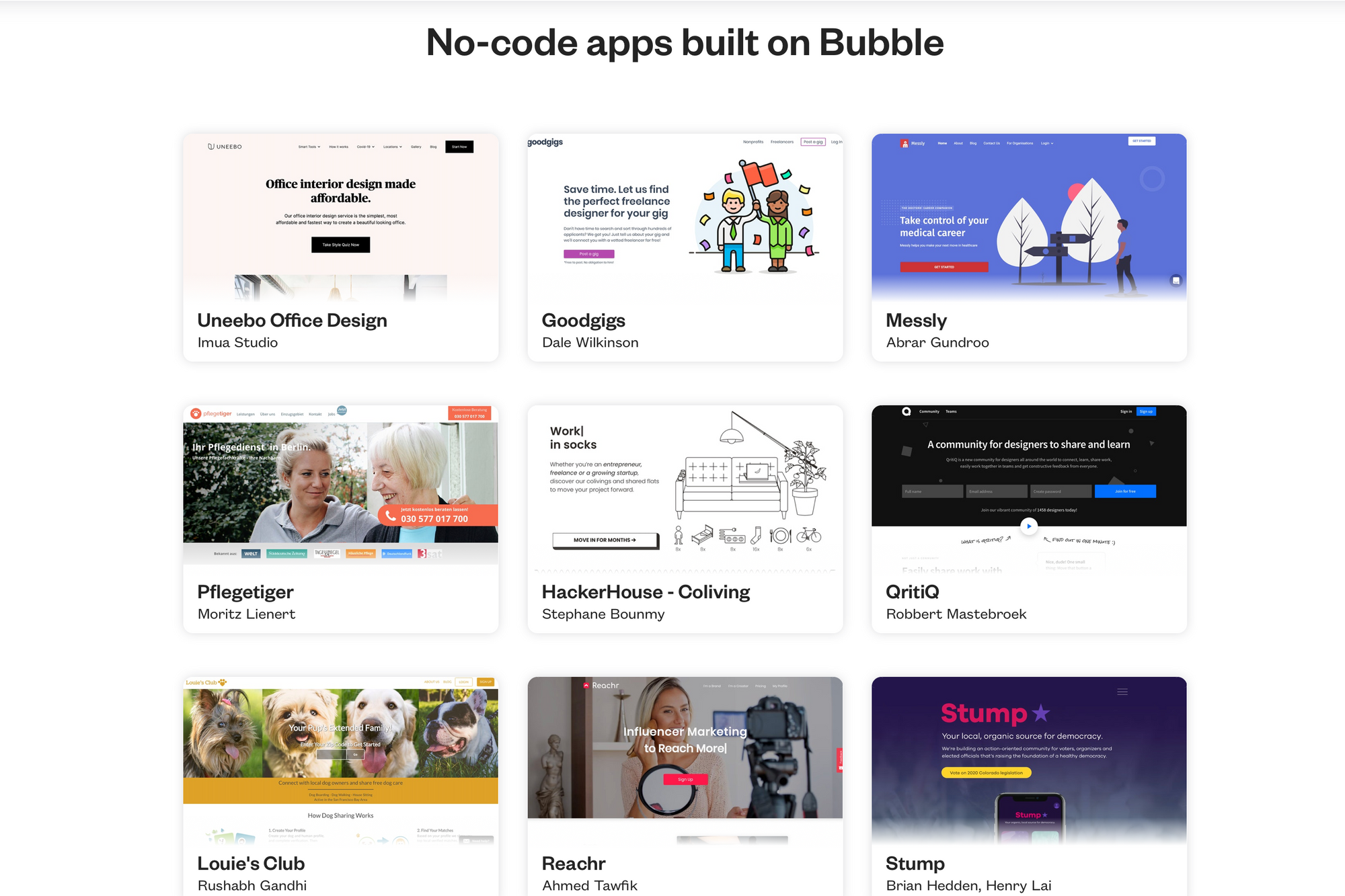 No-code apps built on Bubble