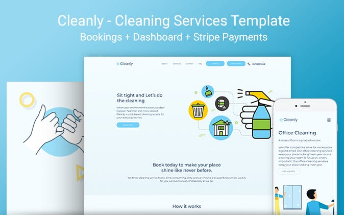 Cleanly's cleaning service template.
