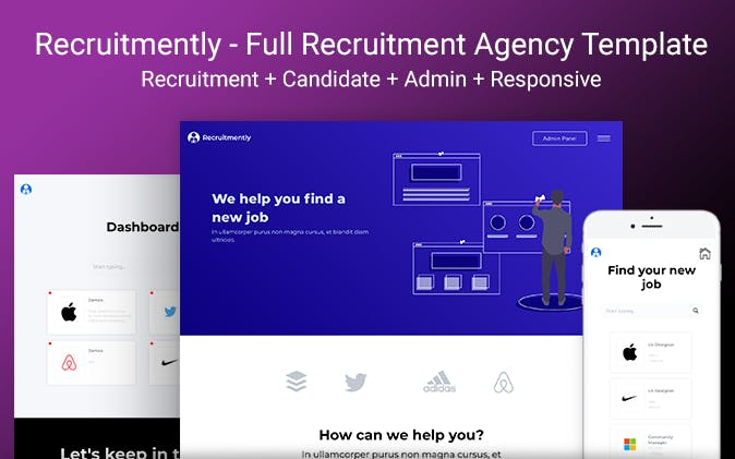 Recruitmently is a full recruitment agency template.