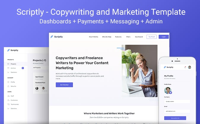 Sriptly copywriting and marketing template.