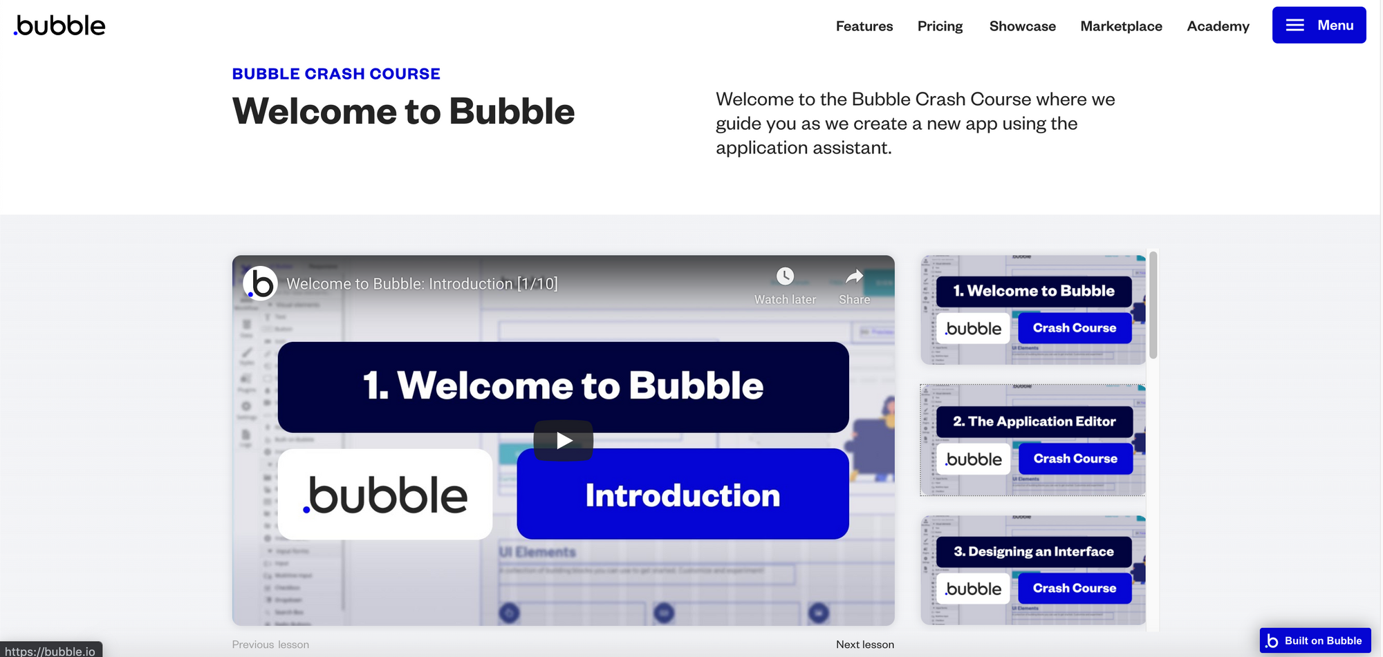 Bubble Academy Video Tutorials for No Code Web App Development