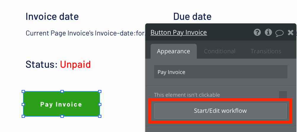 Trigger a new no-code workflow when a pay invoice button is clicked