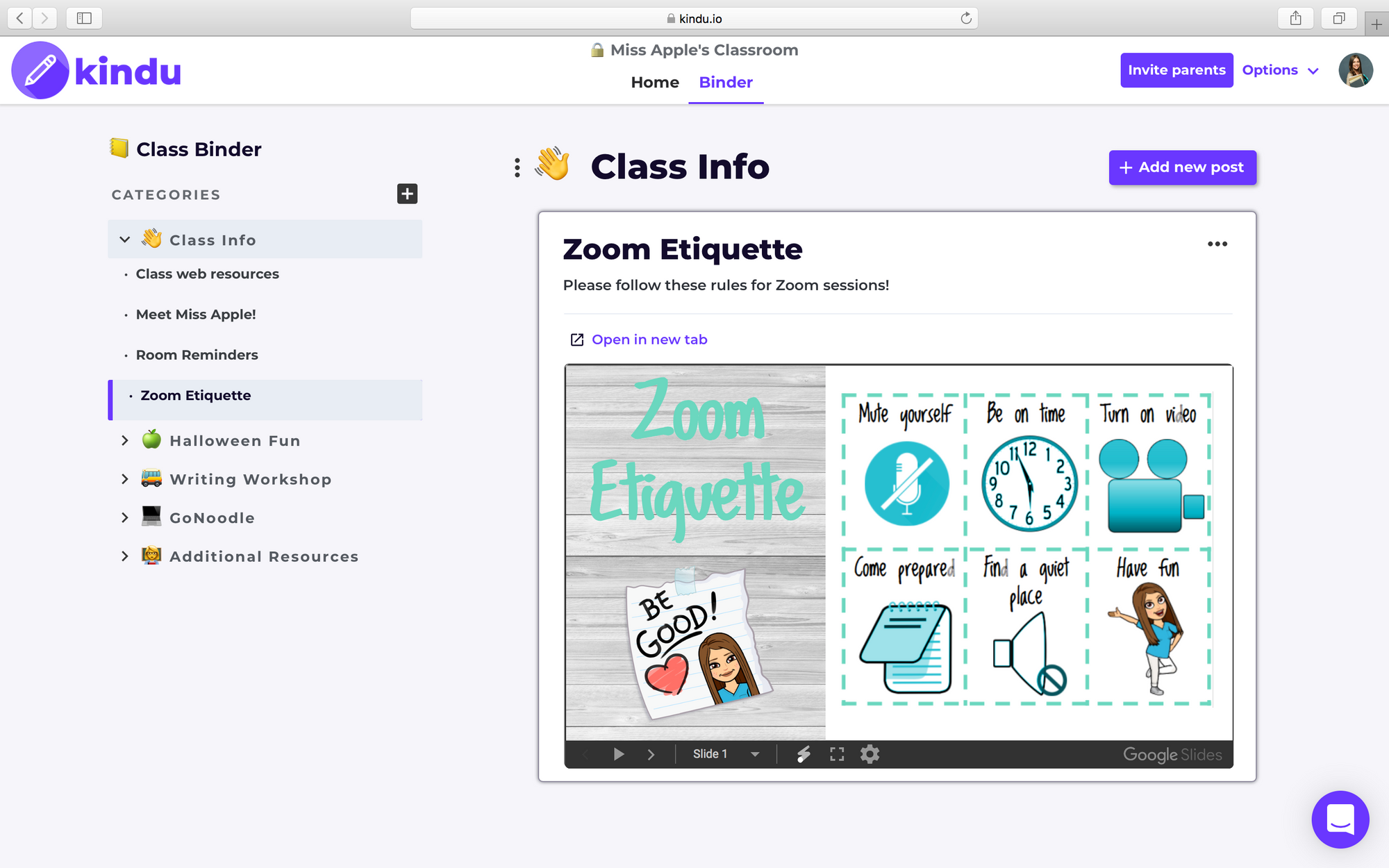 Create a digital binder of videos, Google documents, class resources, files, newsletters, and anything you want!
