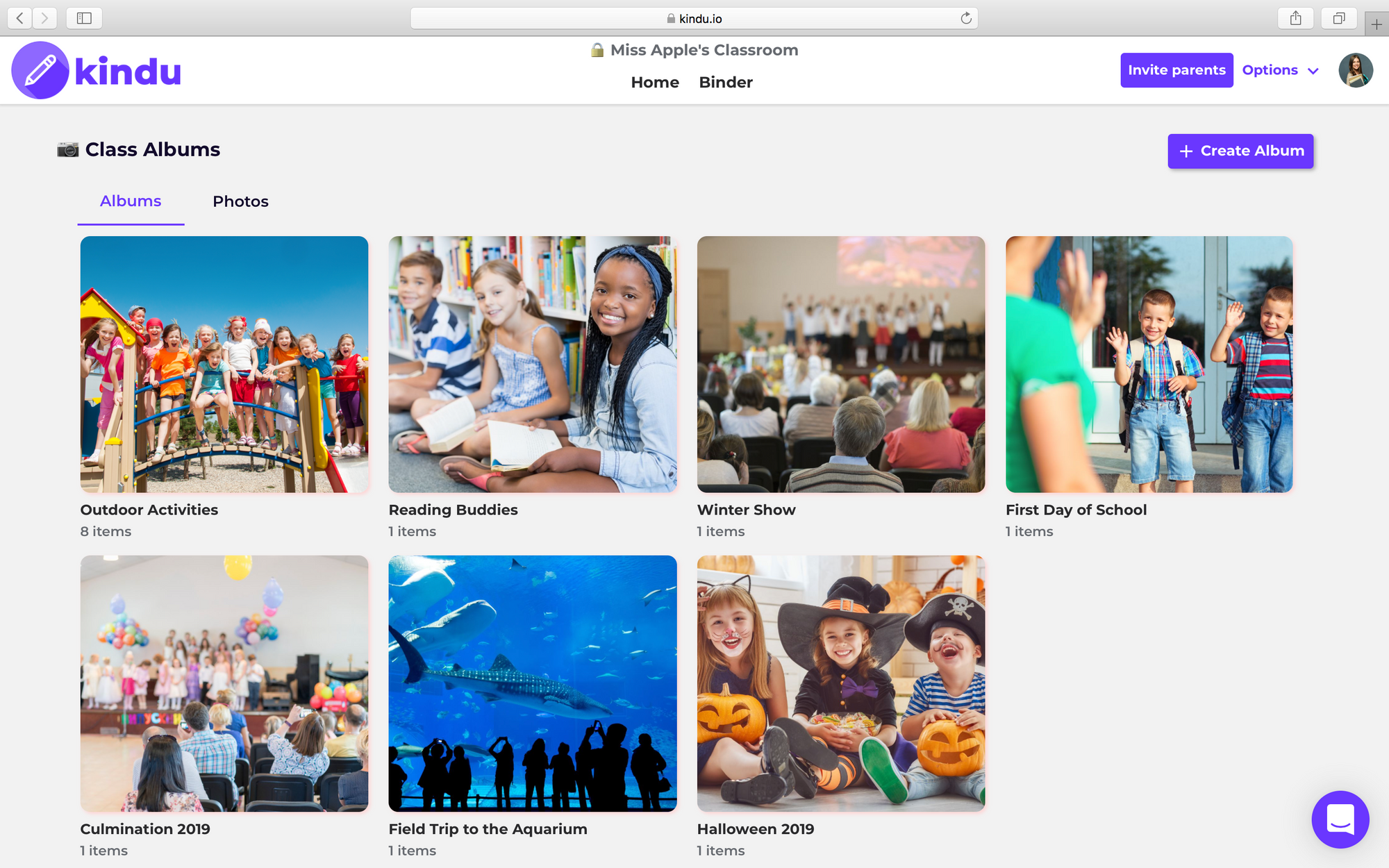Share class photos and create albums or allow parents to upload their own albums.
