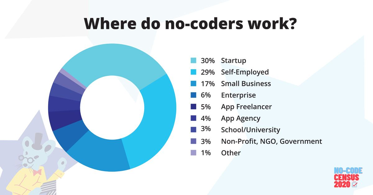 Graph of where No-Code users work, from startup to enterprise and