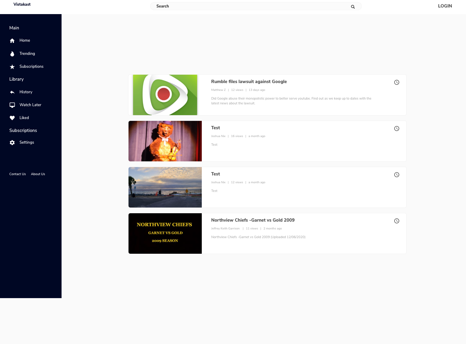 Users can upload content, view trending posts, subscribe, view their history, and more.