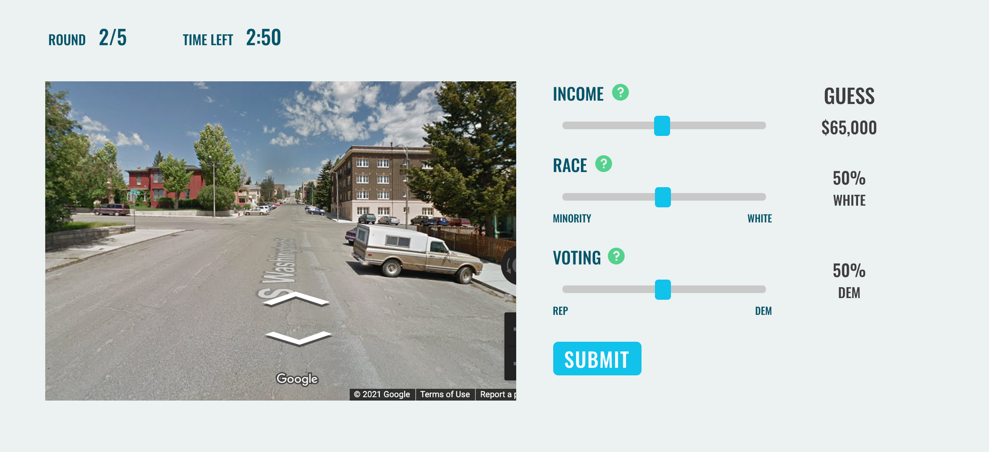 """Users can select """"roadtrip."""" In each streetview location, you can move down the streets to look for hints."""