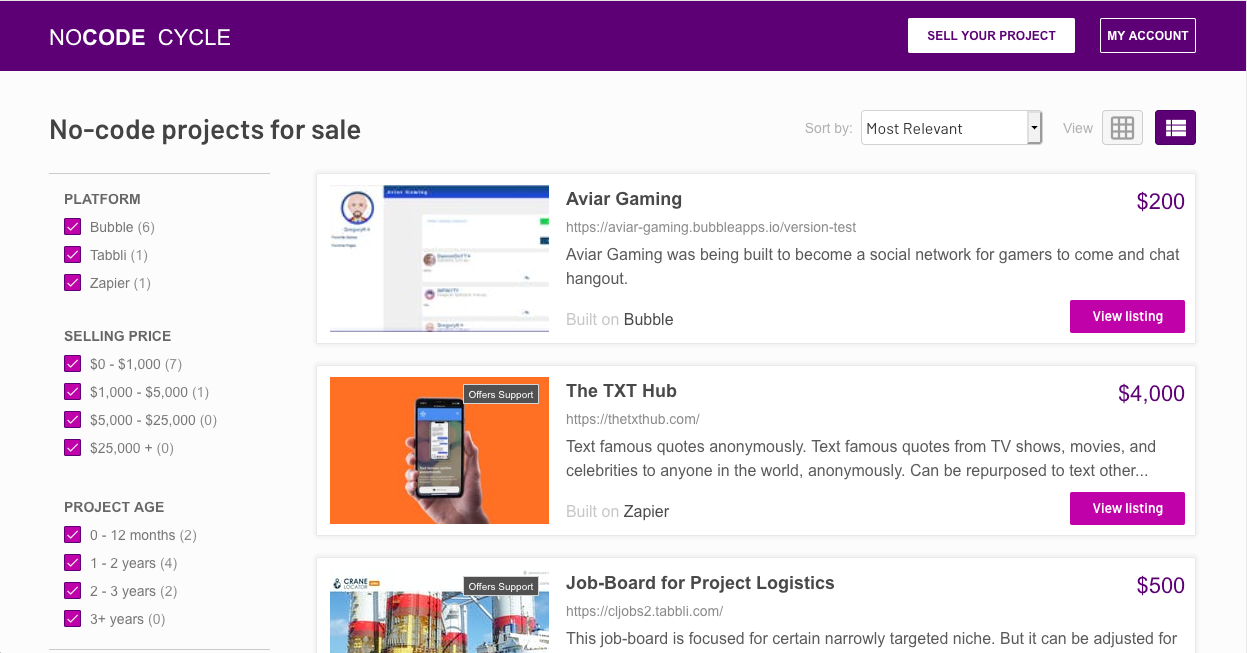 Anyone can browse through the projects that are for sale and can narrow down their search using a range of filters.