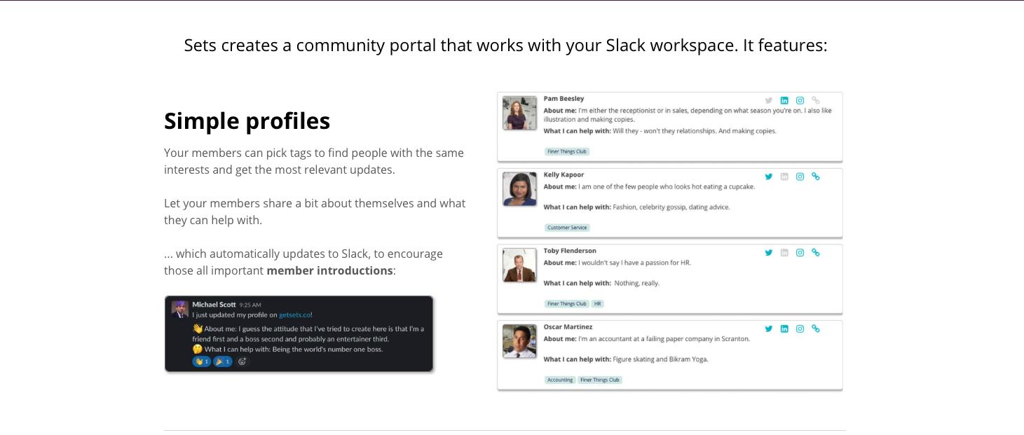 Sets is a community portal on Slack.
