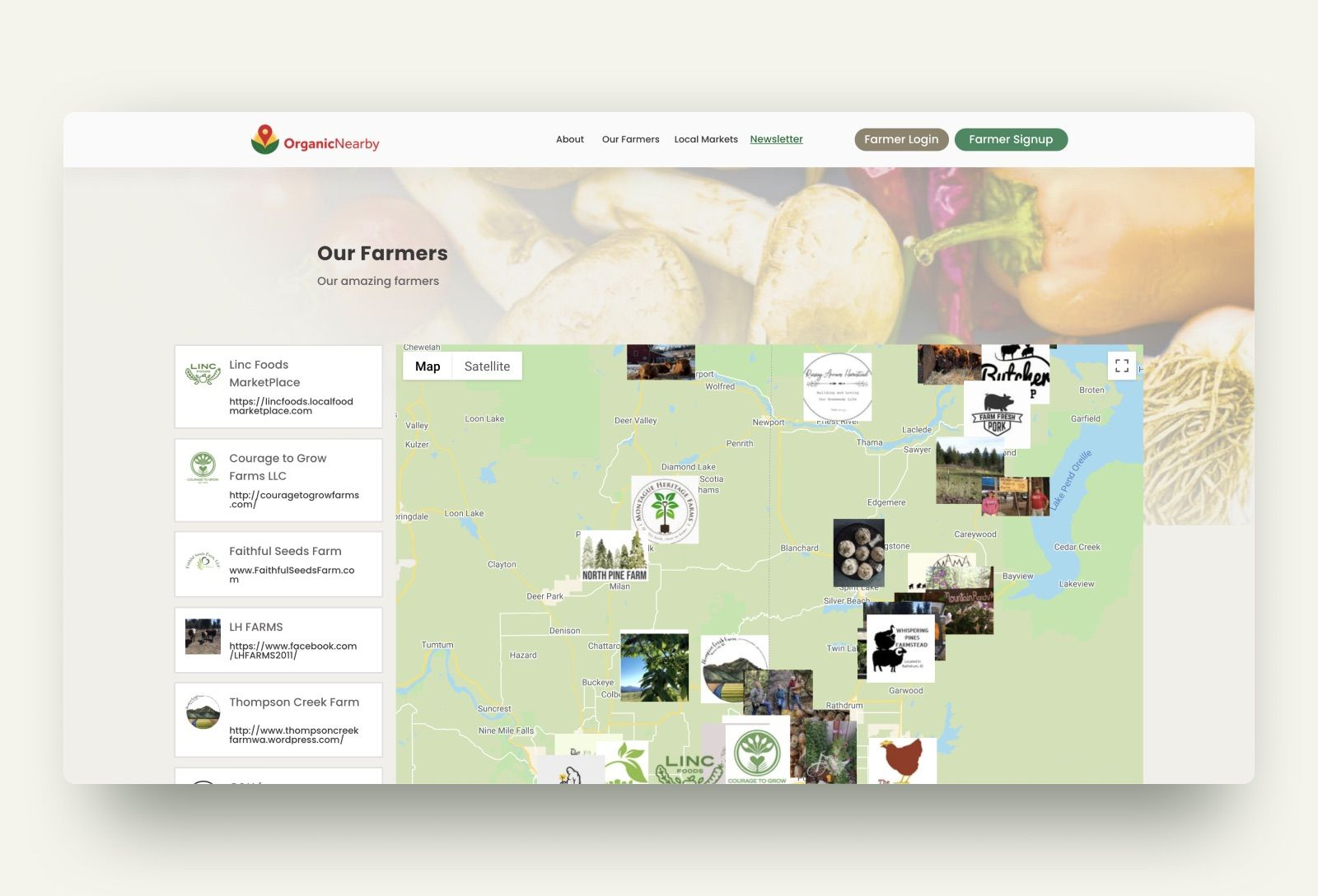 Our new farmers' list that lets users see where all of our farmers are located on a map.