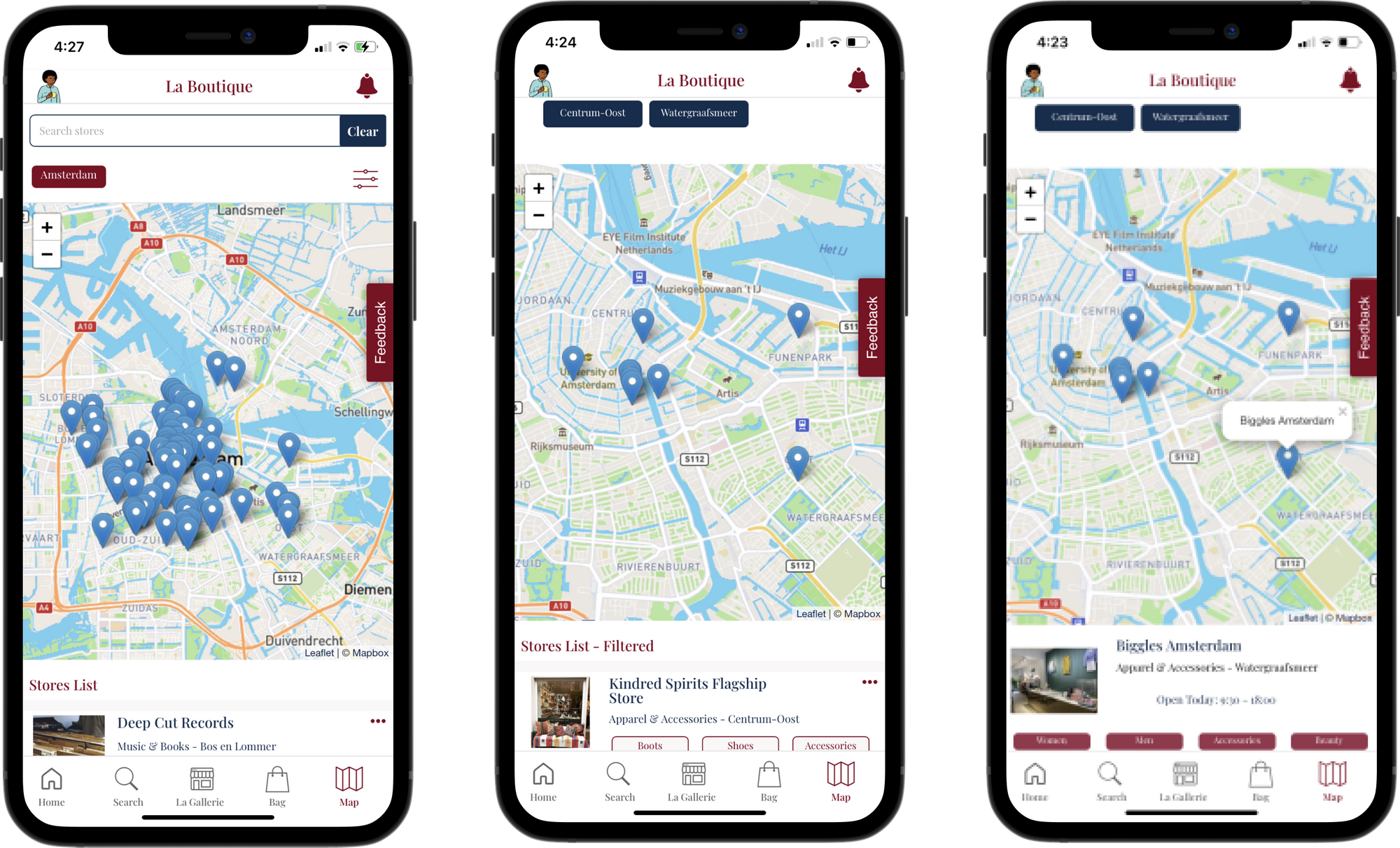 Users can search for local stores easily using the map feature.