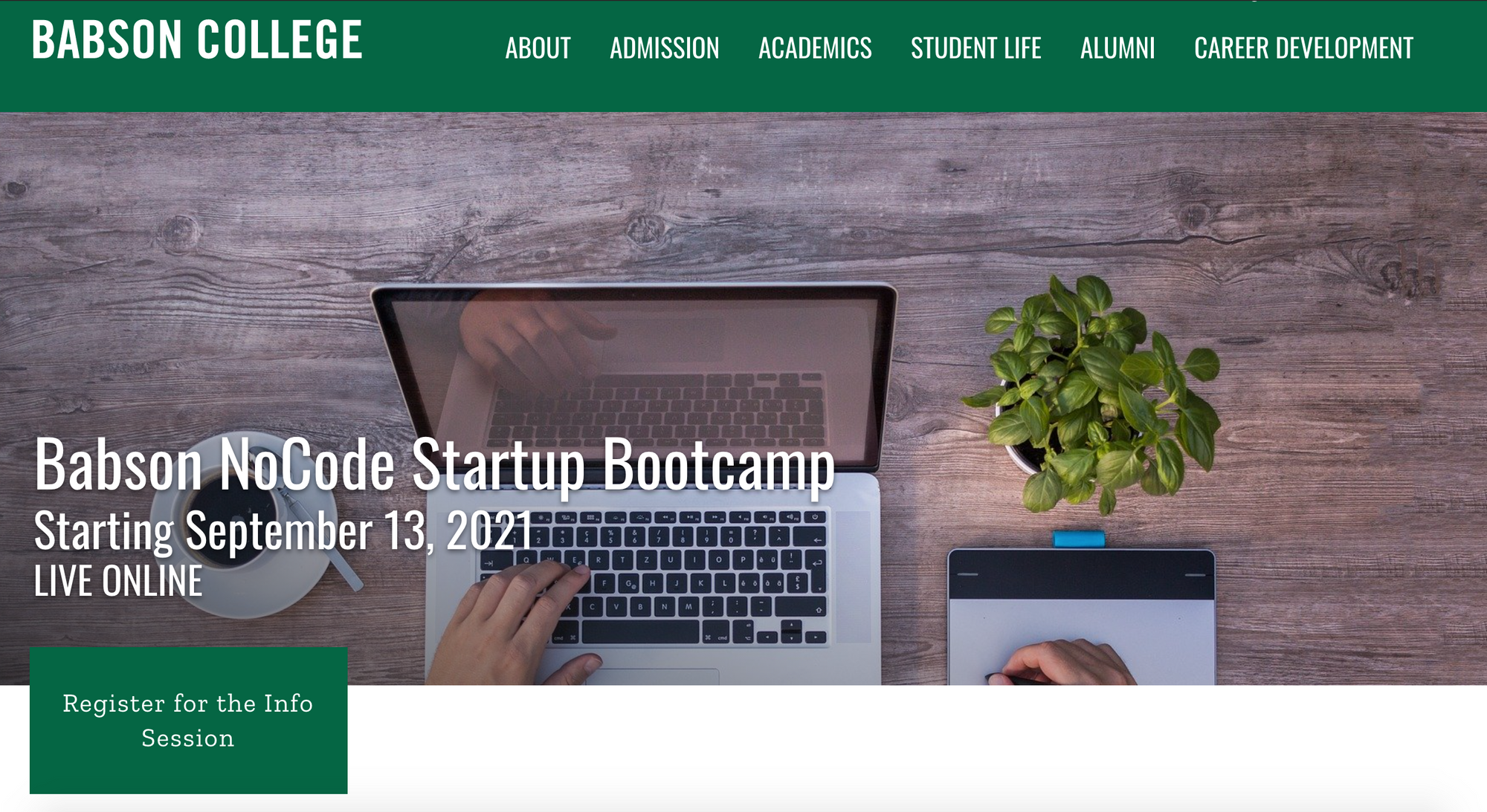 Babson No Code Startup Bootcamp Bubble