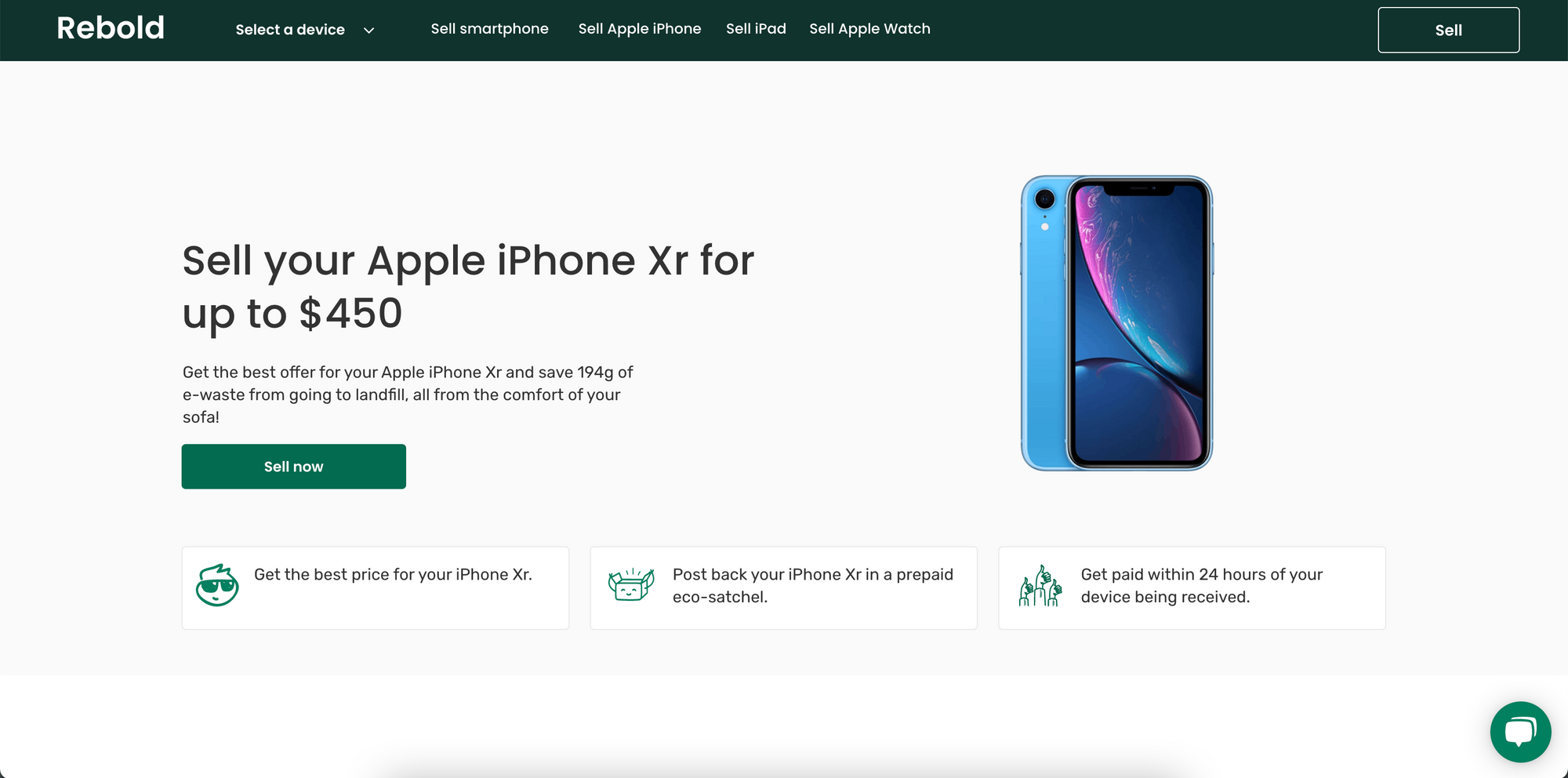 You can sell your iPhone Xr for up to $450 on Rebold.