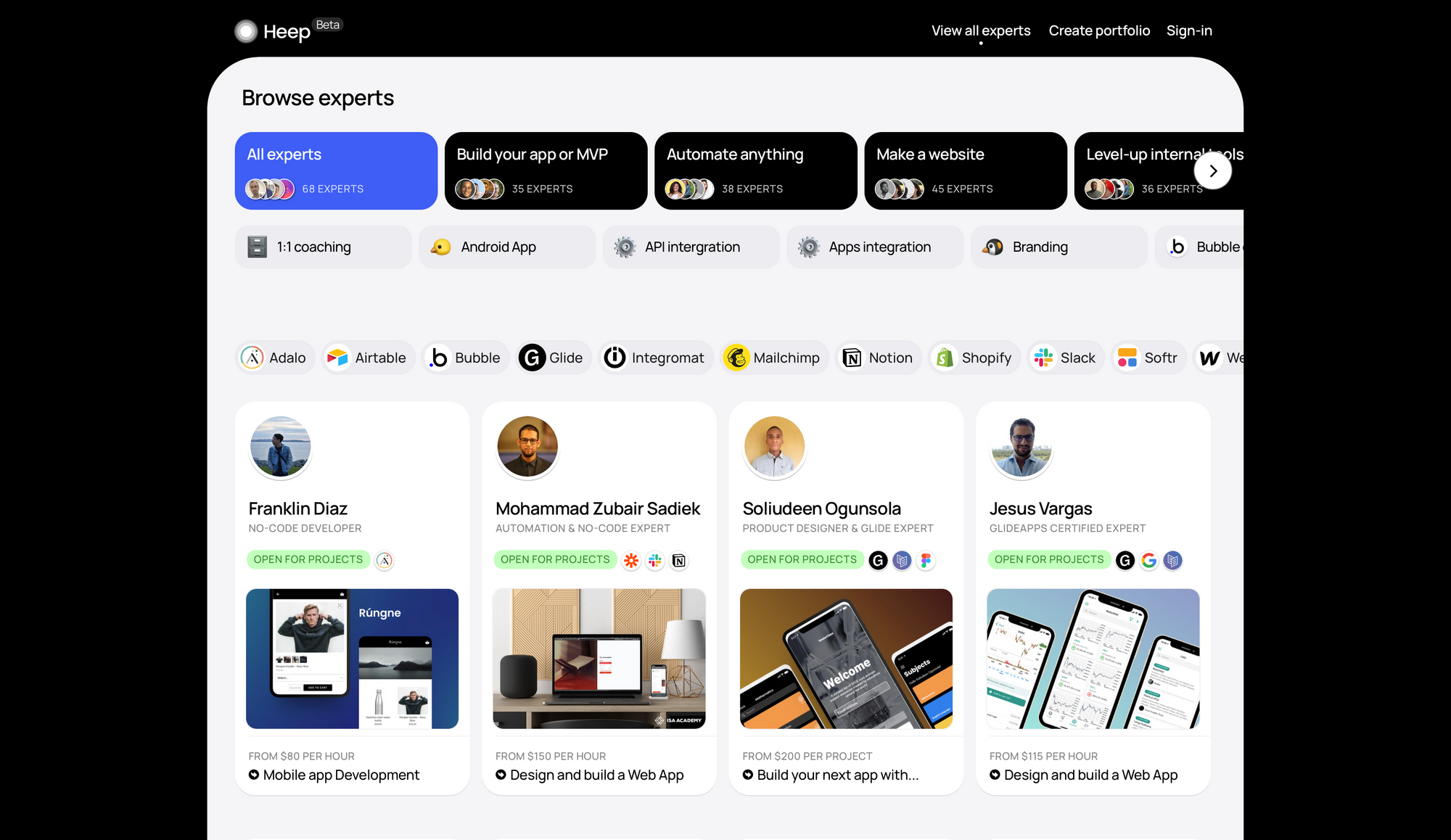 Main experts discovery page